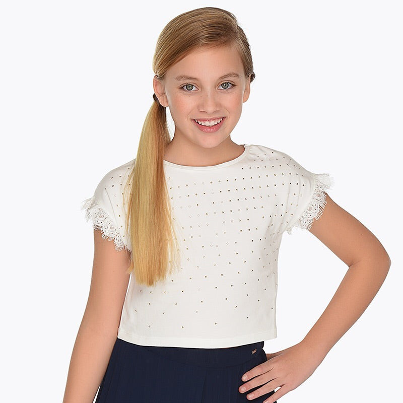 Girls Studded Front Round Neck T-Shirt with Lace Detailed Short Sleeves. Soft Stretch Cotton Fabric