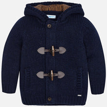 Boys Chunky Knitted Hooded Cardigan with inner Zip Fastening and Toggle Detailed Front Fastening and Front Pockets