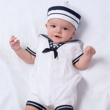 Boys Sailor Style Short Sleeved Romper with Matching Hat Contrasting Trim, Button and Bow and Front Pleated Detail