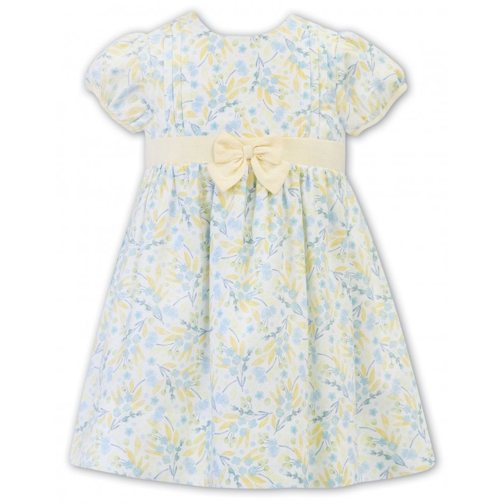 Girls Short Sleeved Dress with Trim Detail, Large Lemon Bow Trim above The Waist with Full Skirt
