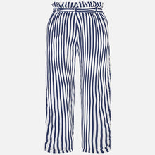 Girls Loose Fitting Tapered Striped Trousers with High Waistand Belt and T-Shirt with Studded Detailed Front and Lace Detail on Sleeves