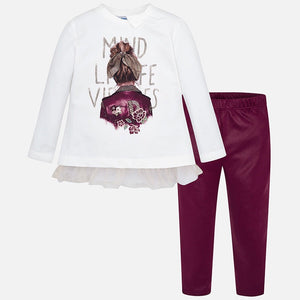 Girls Legging Set, Long Sleeved Detailed Print Applique Top with Imitation Rhinestones. Faux Suede Fabric Sheen LeggingsRuby