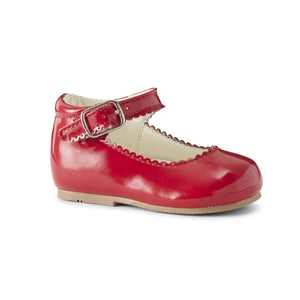 Girls Patent 'Mary Jane Style' Shoes. Edging Detail around Shoe Front and on Ankle Strap