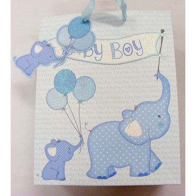 Large Baby Boy Glittery Elephant  Gift Bag