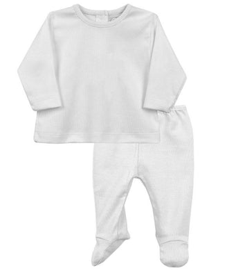 Baby 2 Piece Set, Long Sleeved Top, Round Neck Collar and Bottoms with Feet. Super Soft Cotton in Gift Box