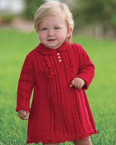 Girls Traditional Knitted Dress Cable Detail with Applique Bows, Scallop Detailed Hemline and Peter Pan Collar
