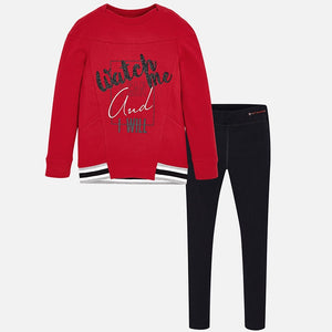 "Girls ""Watch me"" Detailed Print Sweat Top and Leggings Set"