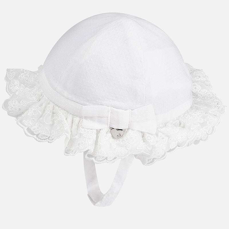 Pretty Baby Girls Summer Hat with Lace Frill, Bow Detail with Mayoral Charm and Under Chin Fastening