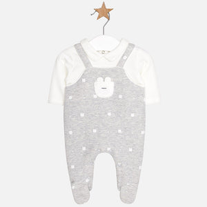 Baby Shirt and Overall Style All in One Romper with Applique Detail and Front Pocket