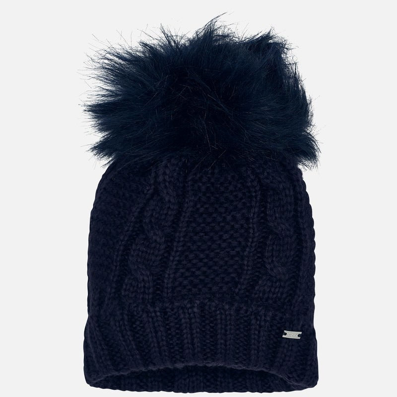 Girls Chunky Cable Knit Hat with Matching Single Faux Fur Pom