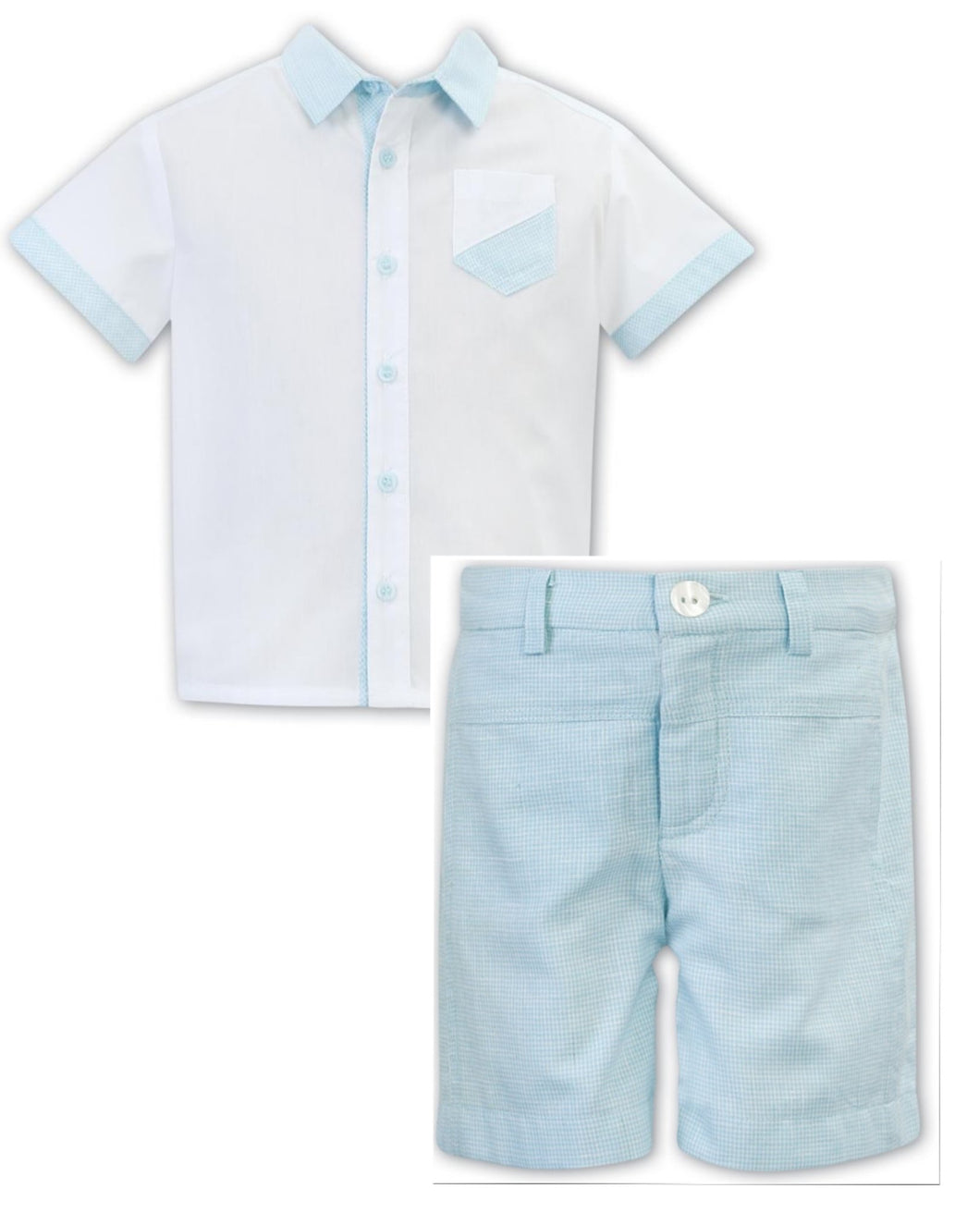 Boys Short Sleeved Shirt with Contrasting Trim on Sleeves, Pocket and Collar woth Matching 5 Pocket Shorts, Adjustable Waist
