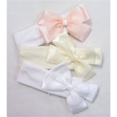 Beautiful Soft Wide Cotton and Lycra Headband with Large Organza Bow
