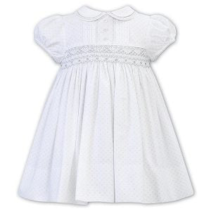 Girls Short Sleeved Delecate Print Hand Smocking and Embroidery Detailed Dress with Trimmed Pater Pan Collar