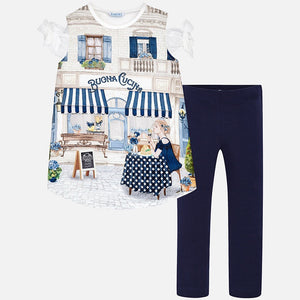 Girls Printed T-shirt and Leggings Set
