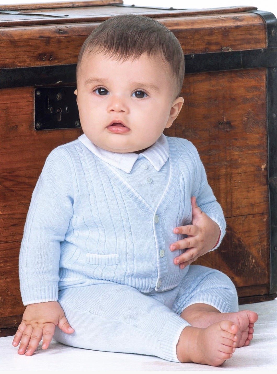 Baby Boys Cable and Detailed Fine Knit All in One Suit