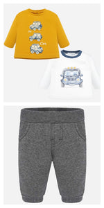 Baby Boys 2 Piece Set Long Sleeved T Shirt with Car Designed Front in Soft Cotton and Soft  Feeling Lined Cuffed Trousers with 5 Mock Pockets