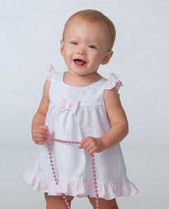 Girls Broiderie Anglaise Short Dress Complimented Trim on Hemline, Sleeves and Detailed Bow and Matching Pants