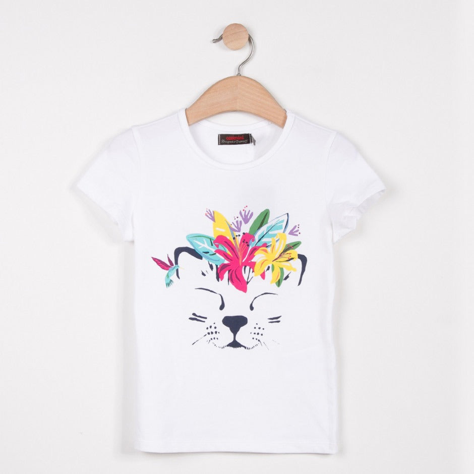 Girls T-Shirt Animal / Cat Print