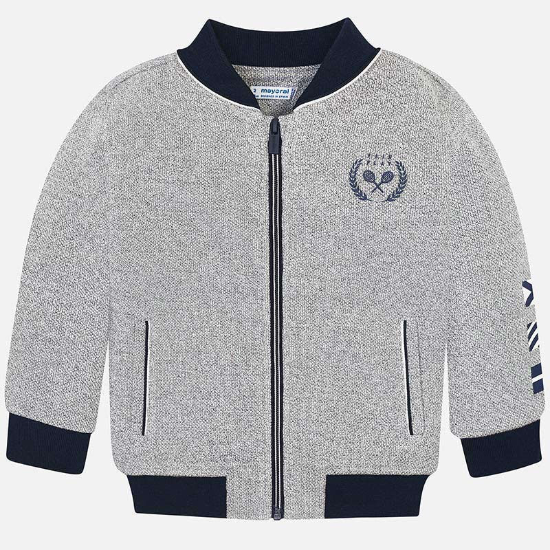 Boys Long Sleeved Cotton Fabric Jacket, Contrasting Neckline and Cuffs, Double Zip with Detailed Logo and Sleeve