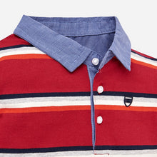 Boys Long Sleeved Stripped Polo Shirt with Chambray Cotton Collar