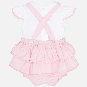 Baby Ruffled Skirt and Pants All in One Set with Short Sleeved T-Shirt Top with Contrasting Trim  and Matching Headband