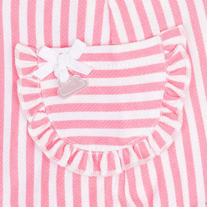 Baby Girls Candy Stripped Dungarees Set,  Short Sleeves and Round Neckline with Detailed Front Pockets and Headband
