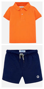 Boys Short Sleeved Polo Shirt and Contrasting Cotton Shorts Set