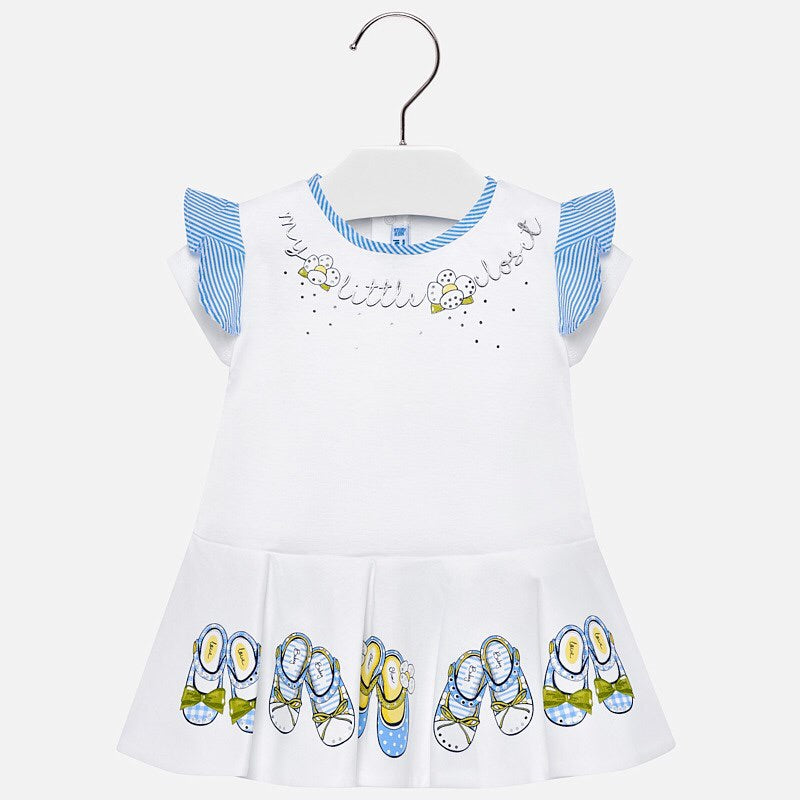 Girls Stretch Cotton Dress with Ruffled Detailed Short Sleeves, Fitted to Waist with Shoes Print on Flaired Skirt