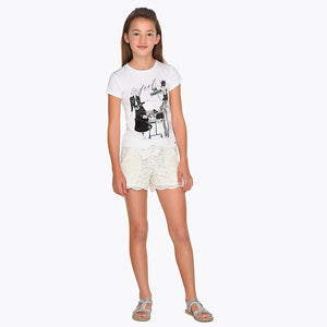 Girls Lace Patterened Elasticated Waist with Bow Detail Shorts