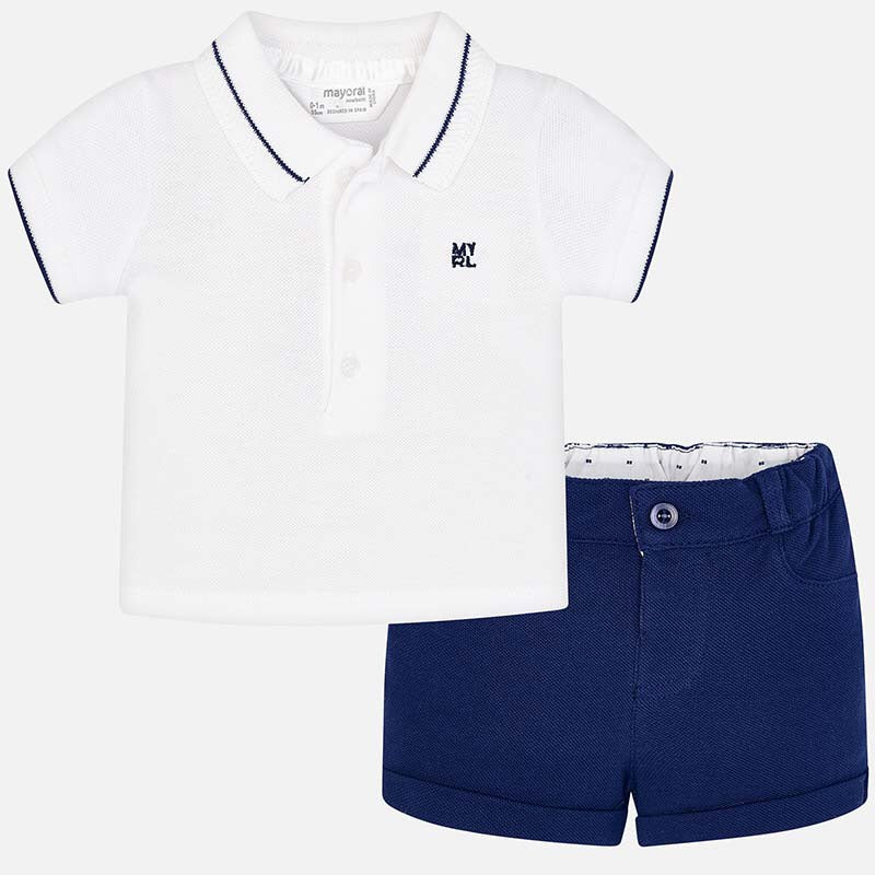 Boys Short Sleeved Polo Shirt with Contrasting Trim and Logo, Adjustable Waist Shorts with Turn ups