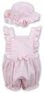 Adorable Girls Bubble Romper with Matching Hat, Gingham Fabric with Matching Frills and Bow Detail on Bib and Hat.