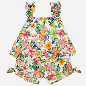 Girls Tropical Floral Print, Ruffled, Strappy Short Sleeveless Playsuit with Short/Top Look, Tie Detail on Shorts