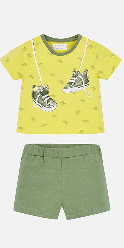 Baby Boys Short Sleeved Print T-Shirt and Striped Shorts. Set in Soft Cotton Fabric