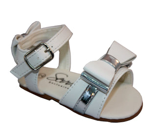 Girls Sandals with Bow Detail on Front and Back of Sandals. Man Made with Silver Trim