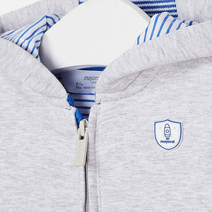 Baby Boys Lightweight Hoodie with Striped Fabric Lining Matching Stripe on Cuff and Welt. Mayoral Motif on Chest