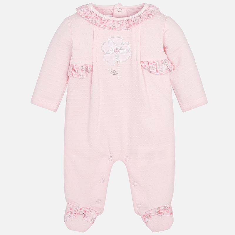 Baby Long Sleeved Romper/Sleepsuit in Soft Stretch Cotton, Ruffled Lace Detail Neckline. Gift boxed