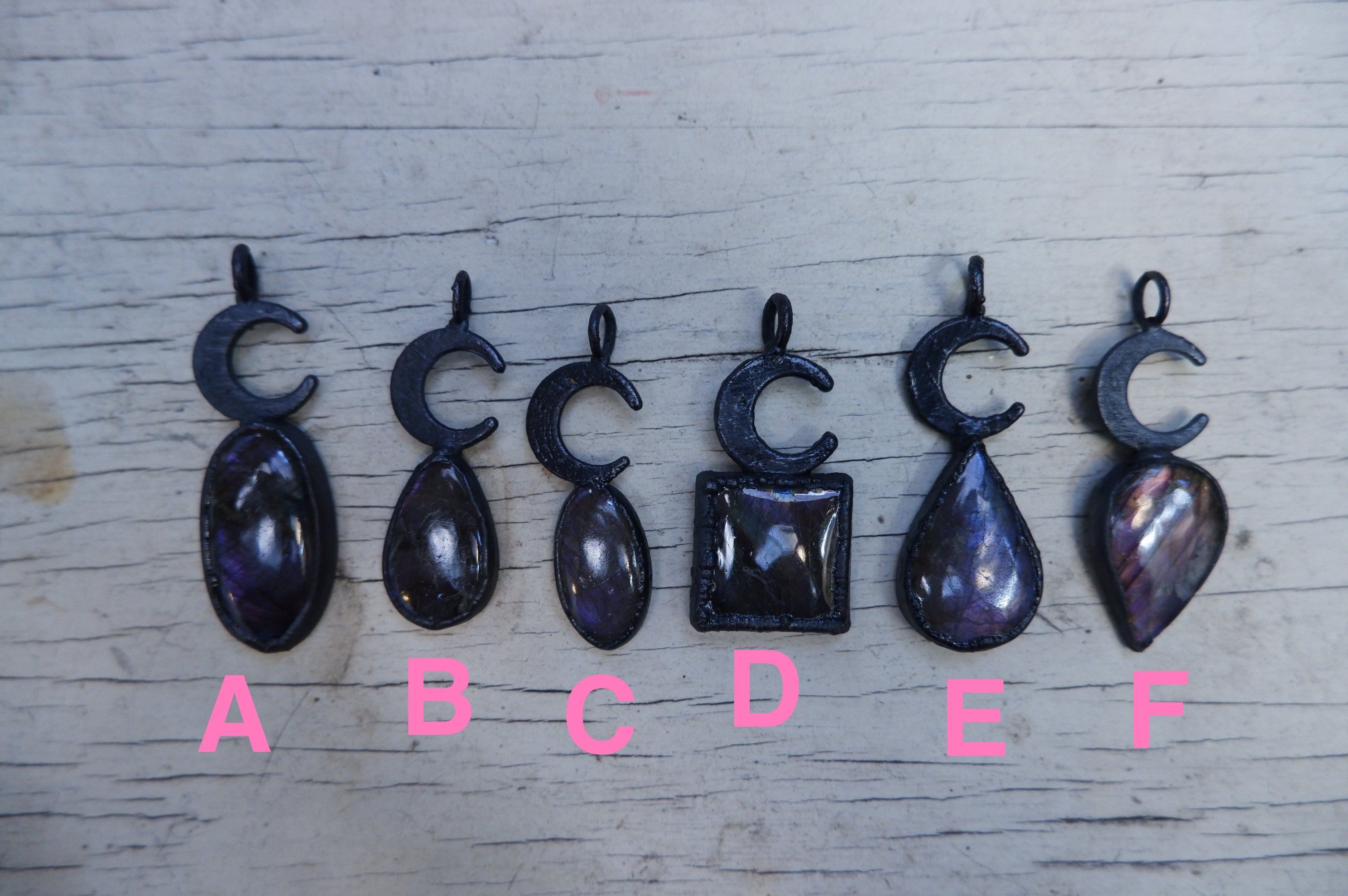 Purple Labradorite Crescent Pendants