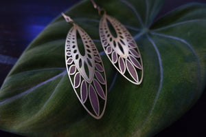 Brass Etched Oasis Leaf Earrings