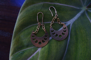 Brass Lunar Phase Earrings