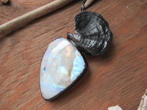 Rainbow Moonstone Mushroom Necklace