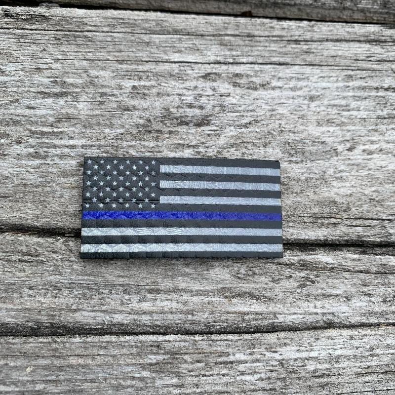 Micro USA Flag - Black and Grey Thin Blue Line - Hi Vis HiViz Patch PatchPanel