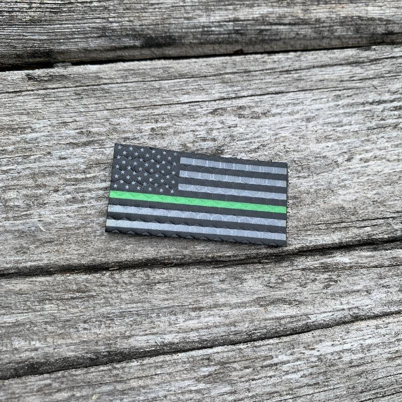 Micro USA Flag - Black and Grey Thin Green Line - Hi Vis HiViz Patch PatchPanel