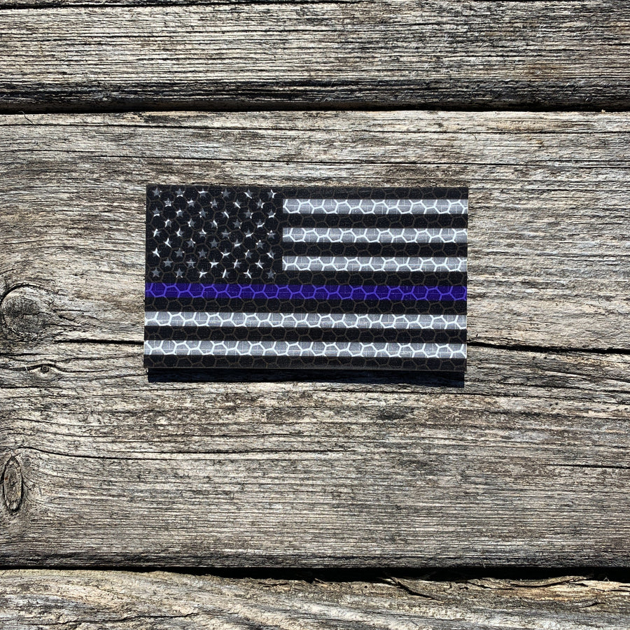 US Flag - Black and White Thin Blue Line - Hi Vis HiViz Patch PatchPanel