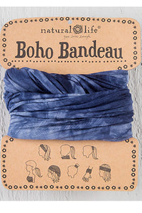 Navy and White Tie-Dye Boho Bandeau