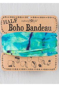 Aqua and Lime Tie-Dye Half Boho Bandeau