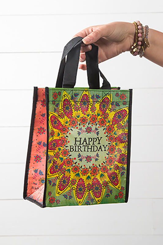 Happy Birthday Green Flower Medium Recycled Gift Bag