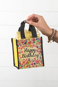 "Cream and Black ""Happy Birthday"" Small Gift Bag"
