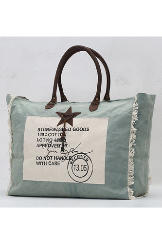 Stone Washed Stamped Weekender Tote