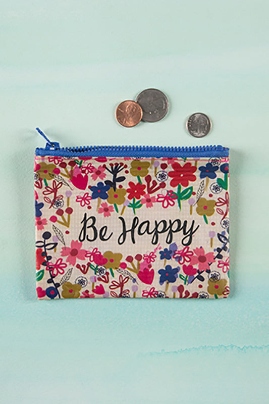 Be Happy Recycled Coin Pouch