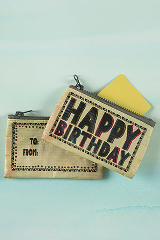 Black and Cream Happy Birthday Gift Card Zipped Pouch